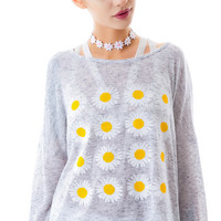 Moon Collection Ring Around Daisy Top Grey