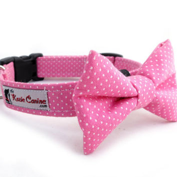 Polka Dot Dog Collar (Pink & White) (Dog Collar Only - Matching Bow Tie Available Separately)