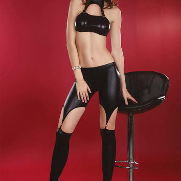Black Vinyl Lingerie And Pantyhose Set