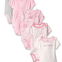 Calvin Klein Baby-Girls Newborn 5 Packs Short Sleeve Bodysuits Pink and Gray, Multi, 6-9 Months