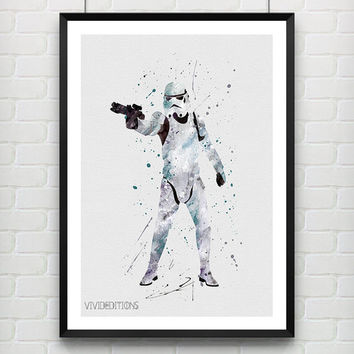 Star Wars Poster, Stormtrooper Watercolor Art Print, Kids Bedoom Decor, Minimalist Home Decor, Not Framed, Buy 2 Get 1 Free! [No. 19]