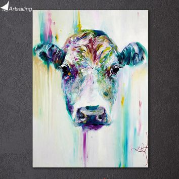 1 piece cow moo abstract canvas art animal calf painting living room decor panel framed