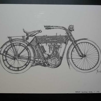 HARLEY DAVIDSON Model 7, 1911, Not a print, ORIGINAL Handmade Drawing, Original Drawing, Ink on paper, 35x50cm, 13.5x19.5 in.