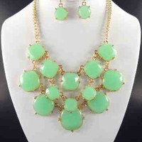Green Statement Necklace & Earring Set