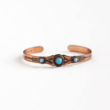 Vintage Copper Children's Simulated Turquoise Cuff Bracelet - Retro 1970s Native American Tribal Arrow Design Baby Blue Glass Tribal Jewelry
