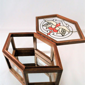"""Vtg 1980s Stained Glass Love Dove Heart Hexagon Jewelry Trinket Wooden Box 5"""""""