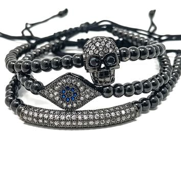 Black Evil Eye, Skull and ID Macramé stack bead bracelets with pave encrusted zircon