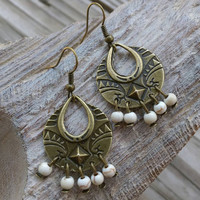 Bronze and white turquoise dangle earrings. White turquoise fashion earrings.