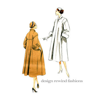 1950s SWING COAT Pattern Vogue 1083 REISSUE Rolled Sleeves Shawl Collar UnCUT Women's Vintage Sewing Patterns Bust 36 38 40 42 Plus Size