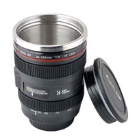Mango Spot Best Camera Lens Thermos Stainless Steel Cup/Mug for Coffee or Tea, Black