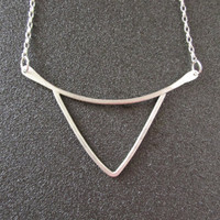 Silver Triangle Necklace, Handmade Geometry Jewelry, Minimal Short Necklace, Women Jewellery