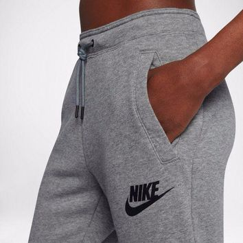 """NIKE""Fashion Women Men Print Casual Pants Trousers Sweatpants Sport Gym Pants Grey I"