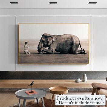Modern Boy And Elephant Nature Photo Canvas Paintings Animal Wall Art Picture For Living Room Poster And Print Europe Home Decor