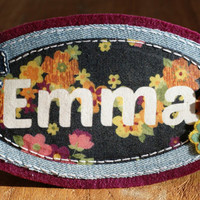 Kids Door Name Plaque Personalised and embellished with Flowers