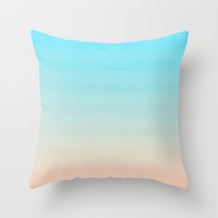 Pastel Striped Pillow Cover - artsy cute girly pink blue white home decor throw living room stripes summer spring light bright colors