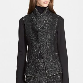 Women's Donna Karan New York Tweed & Jersey Jacket,
