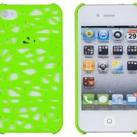 Neon Green Birds Nest Case for Apple iPhone 4, 4S (AT&T, Verizon, Sprint) - Includes 24/7 Cases Microfiber Cleaning Cloth [Retail Packaging by DandyCase]