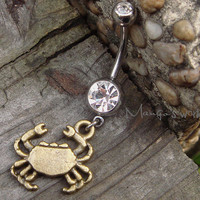 Crab Belly Button Jewelry Ring- Crystal Belly Ring- Bronze Crab Charm Dangle Navel Piercing Bar Barbell- B036