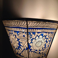 Handpainted kalamkari wall lampshade/ kalamkari wall lampshade / leather wall lampshade/ blue kalamkari handpainted lampshade/wall decor