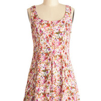 ModCloth Festival Short Sleeveless A-line Pocketed Posies Dress
