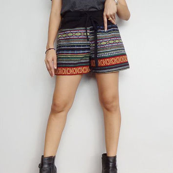 Womens Bohemain Shorts With Drawstring Waist,Unique Style Hippie Boho.
