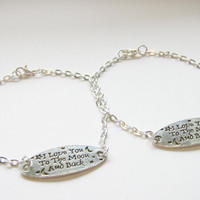 2 I Love You To The Moon And Back Best Friend Bracelets, Sisters Bracelets, Mother Daughter Bracelets, Two Best Friend Bracelets,Best Friend