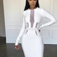 Londra White Mesh Parts Bandage Dress
