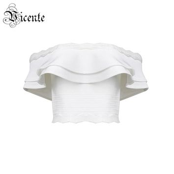2018 New Free Shipping! Chic Must Have Elegant Ruched Sexy Off The Shoulder Wholesale Women Party Bandage Top Bandage Crop Top