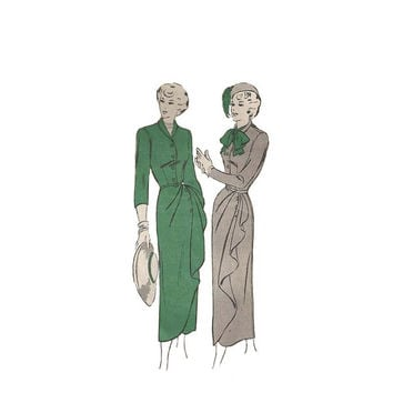 Stunning 1940s Wrap Look Dress Butterick 4647 Bust 32 Fitted Dress with Cascading Drape Vintage Sewing Pattern