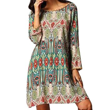 Ethnic Style Round Collar Tribal Print Tassel Dress for Women