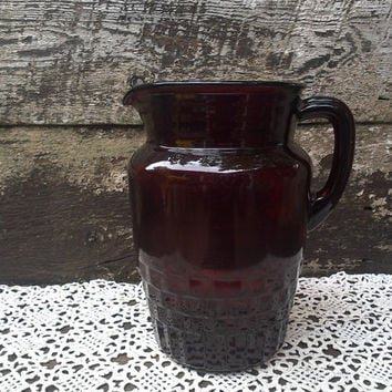 "Pitcher, Ruby Red Glass, 8"" tall, Glass Water Pitcher, Garnet Red, Holiday, Buffet Pitcher, Serving Pitcher, Thanksgiving Pitcher, Tableware"