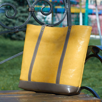 Yellow leather bag. Leather tote bag. Yellow shoulder bag.  Leather tote bag. Yellow tote bag