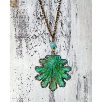Beachy Patina Seashell Necklace