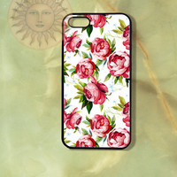 Pink and Blue Flowers iPhone 5 5s 5c 4s 4 Ipod touch 5 Samsung GS3 GS4 case-Silicone Rubber Hard Plastic Case, Phone cover