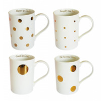 Besotted Mugs Cream/Gold Spots In Gift Box Set of 4