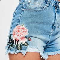 Missguided - Petite Blue Rose Embroidered Denim Shorts