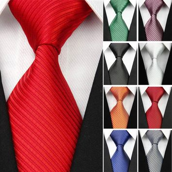 2018 New Wide Silk Ties for Men Striped Solid 10cm Men's Neckties Business Red Wedding Suit Neck Tie Black White Blue Gravatas