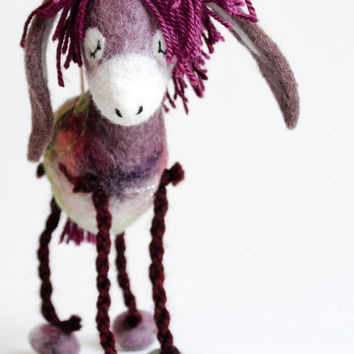 Bertha - Felt Donkey. Art Toy. Felted Animal Soft toy plush Puppet, soft gift for kids Handmade nursery room decor purple. red pink green.