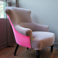 Holly's House - Grey/pink vintage reupholstered armchairs