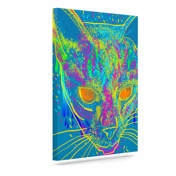 "Frederic Levy-Hadida ""Candy Cat Blue"" Blue Rainbow Canvas Art"