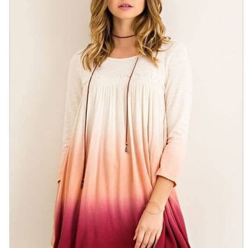 Parade In The Shades Peach Burgundy Red Ombre Dress