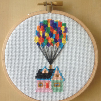 Up House with Balloons Cross Stitch Pattern Disney