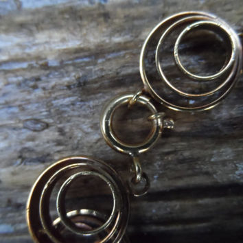 Vintage rolled gold machine age bracelet - early 20th century made in Germany gold filled bracelet 1930's - circles vintage ladies jewellery