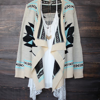 Ichtaca cardigan | Turquoise aztec southern country tribal print oversized knit sweater