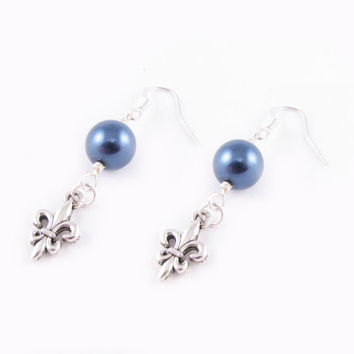 Silver Fleur De Lis Pearl Earrings