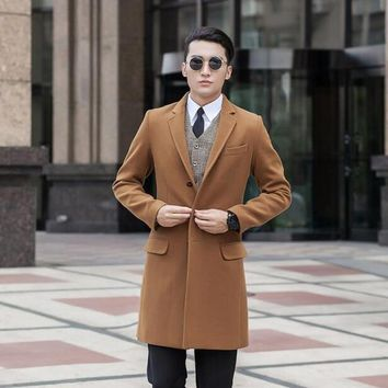 Black grey khaki blue casual Single-breasted wool coat men 2017 trench jackets coats mens wool coat overcoats dress winter S 9XL