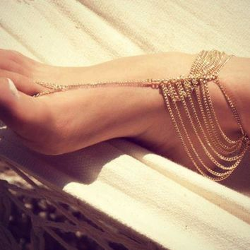 PEAPDQ7 Vintage Gold Color Beach Multi Tassel Toe Ring Chain  Anklet Chain