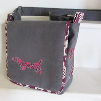 Cute dachshund dog applique messenger bag, grey corduroy with purple patterned lining