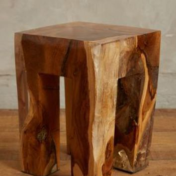 Resin-Coated Pine Side Table by Anthropologie Brown Square Furniture