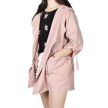 2018 Women Trench Autumn Long Sleeve Hooded Coat Trench Cardigans Casual Elastic Waist Pocket Female Outwear Long Trench GV120